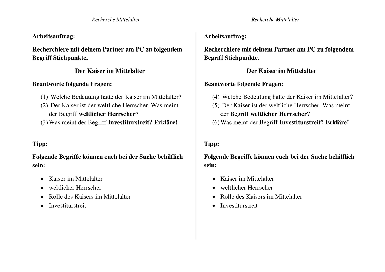 Kaiser Im Mittelalter Unterrichtsmaterial Im Fach Geschichte Geschichte Mittelalter Kaiser