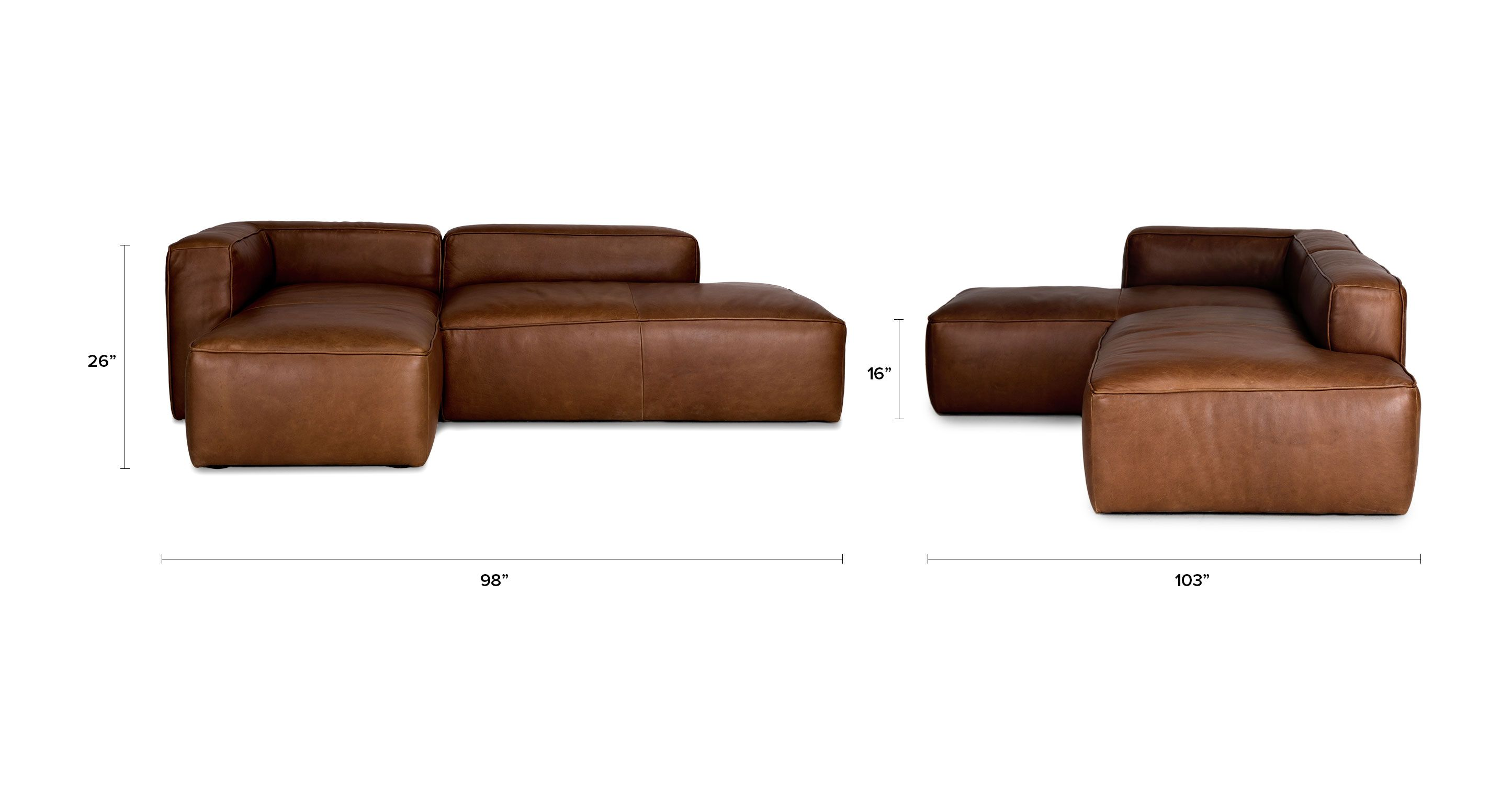 Mello Taos Brown Left Sectional Sofas Article