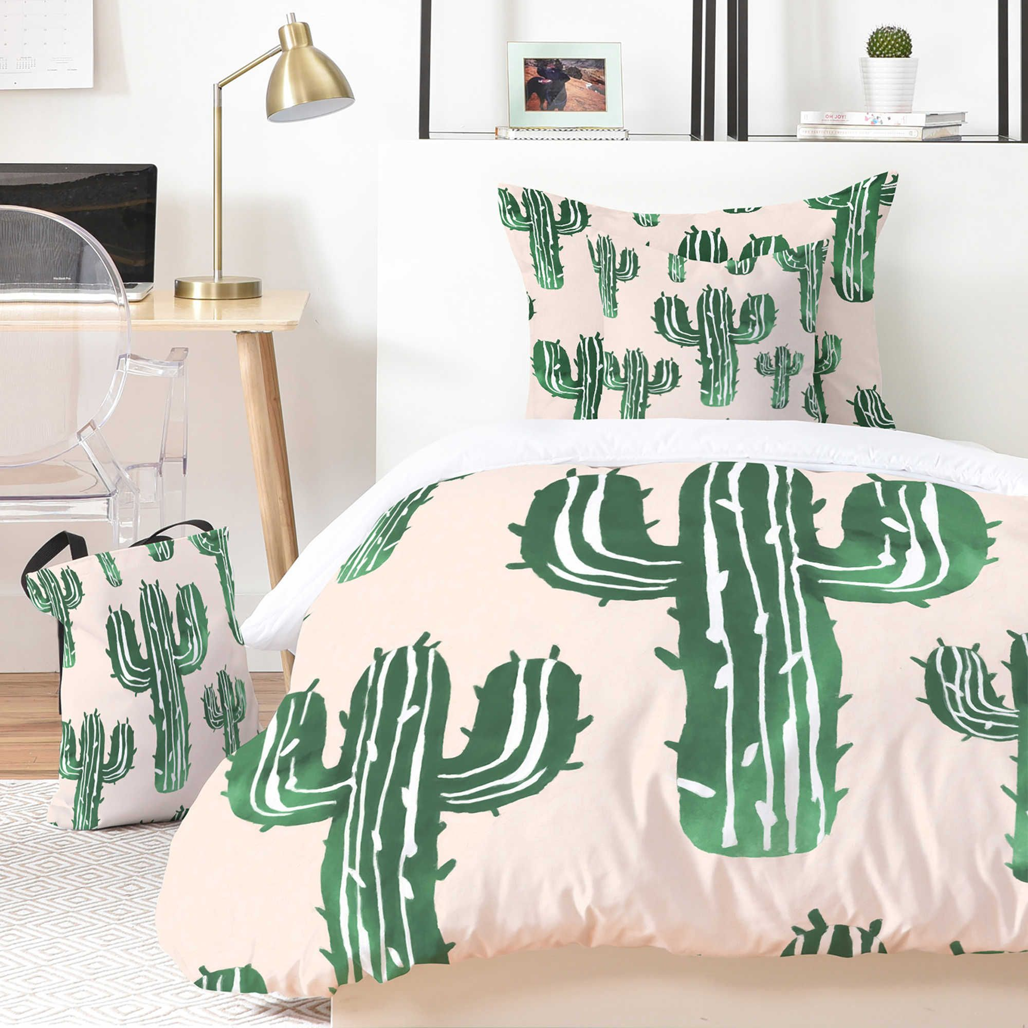 Deny Designs Susanne Kasielke Cactus Party Desert Matcha 5 Piece Duvet Cover Set Bed Bath Beyond Cactus Decor Bedroom Cactus Bedroom Bedroom Themes