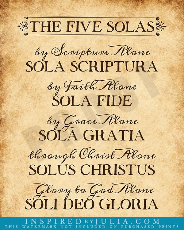 5 Solas of the Reformation | Inspirational Word Art