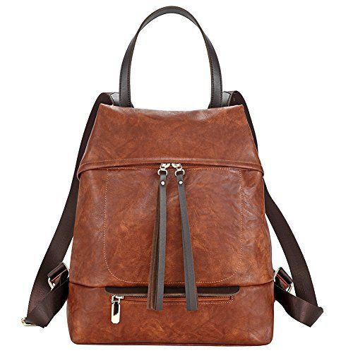 567b2335b924a Fashion Backpack Purse for women PU Leather Shoulder Bags Travel Daypack  Casual Rucksack for ladies (brown). MATERIAL  This rucksack satchel is made  with ...