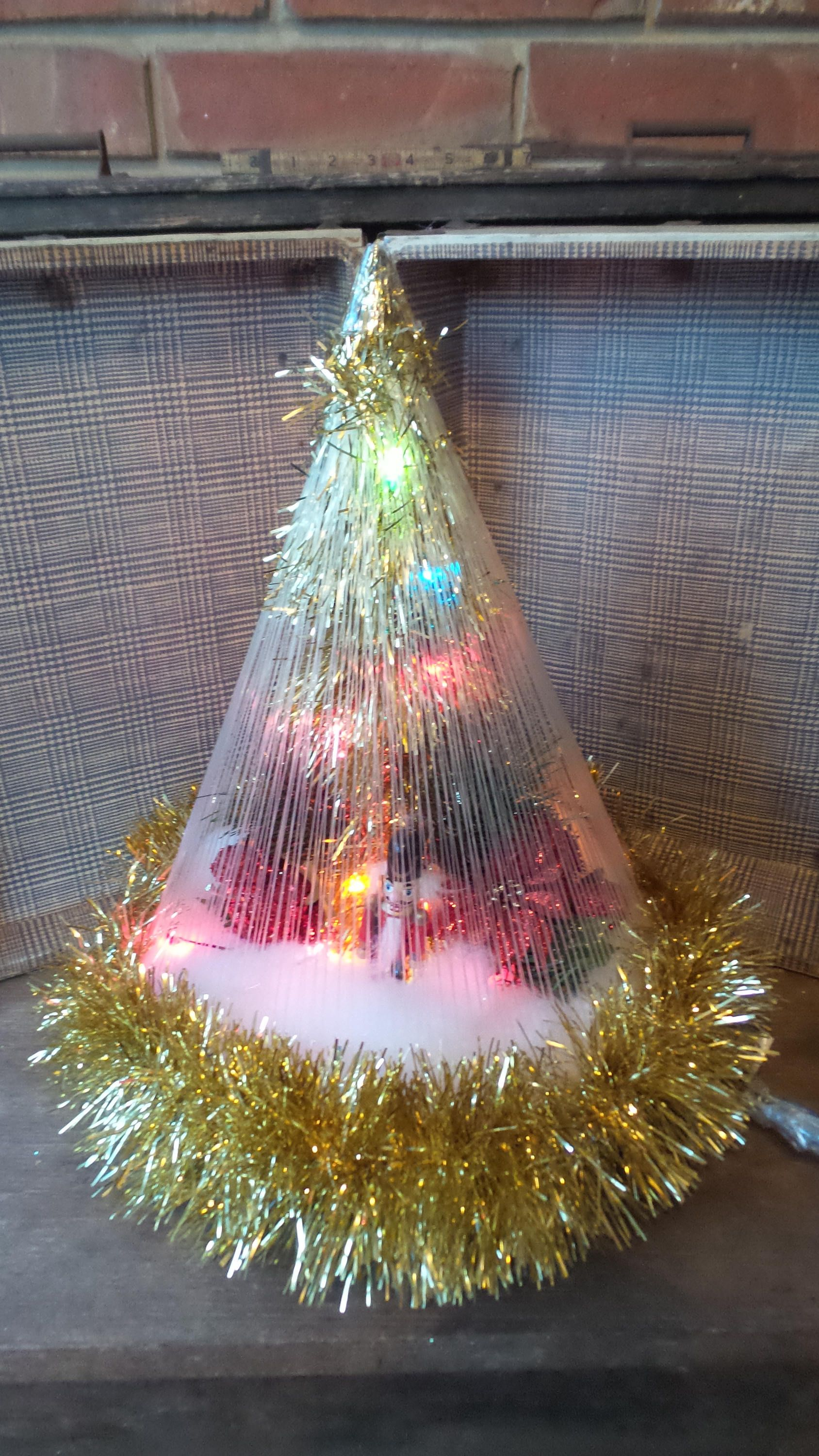retro lighted christmas tree kitschy mid century style christmas tree mini miniature christmas tree