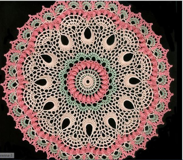 Brenna Doily/Patricia Kristoffersen - Love this color combination. Pattern available on Amazon: http://www.amazon.com/Brenna-Patricia-Kristoffersen-ebook/dp/B00P81C0WW/ref=sr_1_2?s=digital-text&ie=UTF8&qid=1415139110&sr=1-2