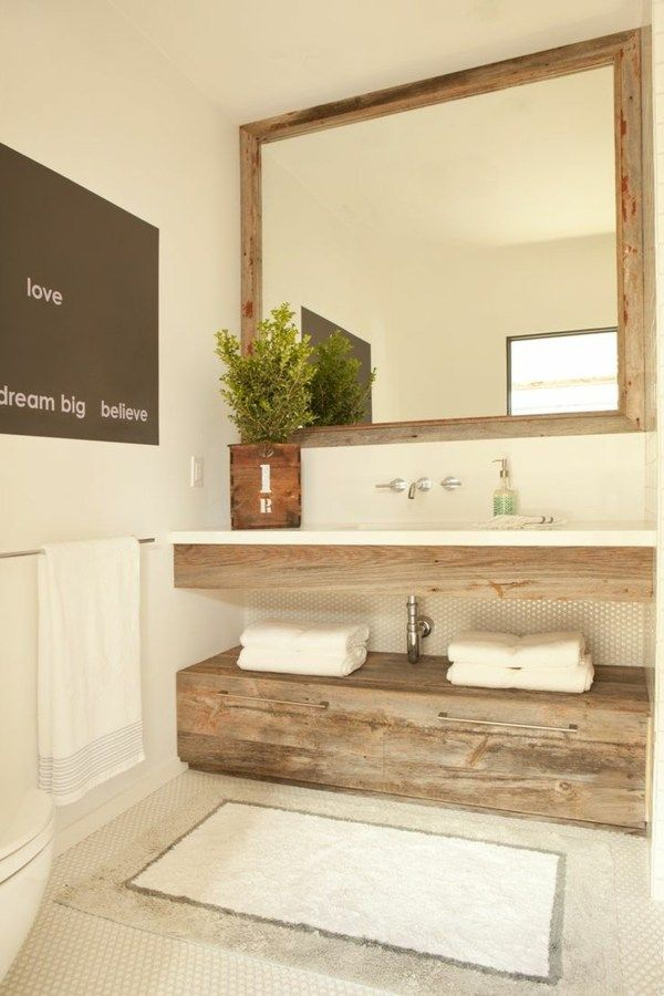 Meuble Salle De Bain Bois 35 Photos De Style Rustique Badezimmer Hutte Badezimmer Renovieren Minimalistisches Badezimmer