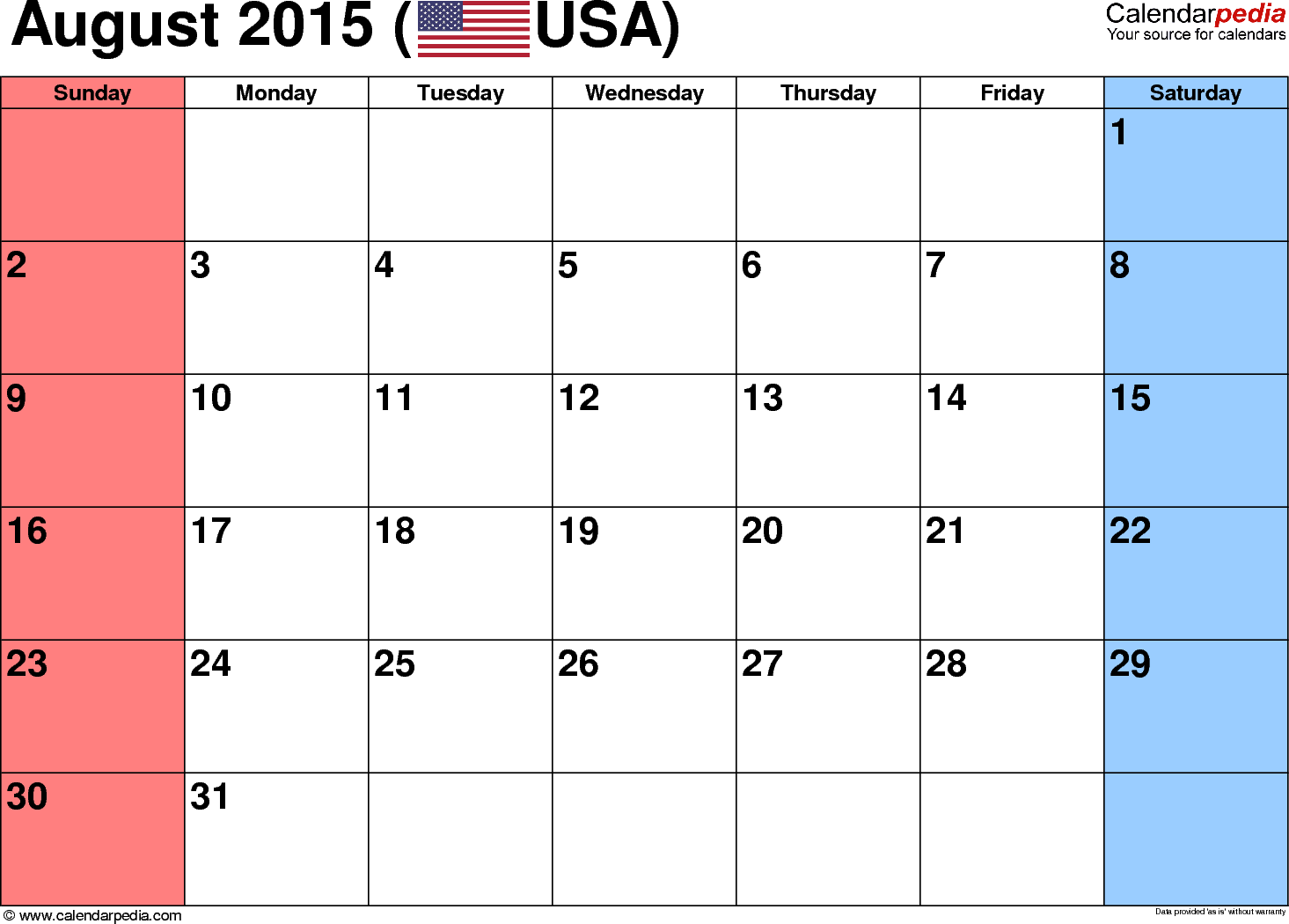 August 2015 Calendar With Holidays
