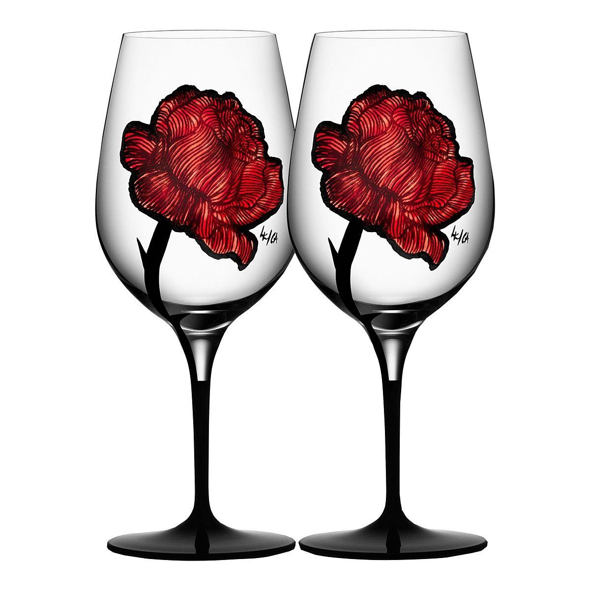 Kosta Boda Tattoo Wine Glasses Set Of 2 Kosta Boda Wine Glass Wine Glasses