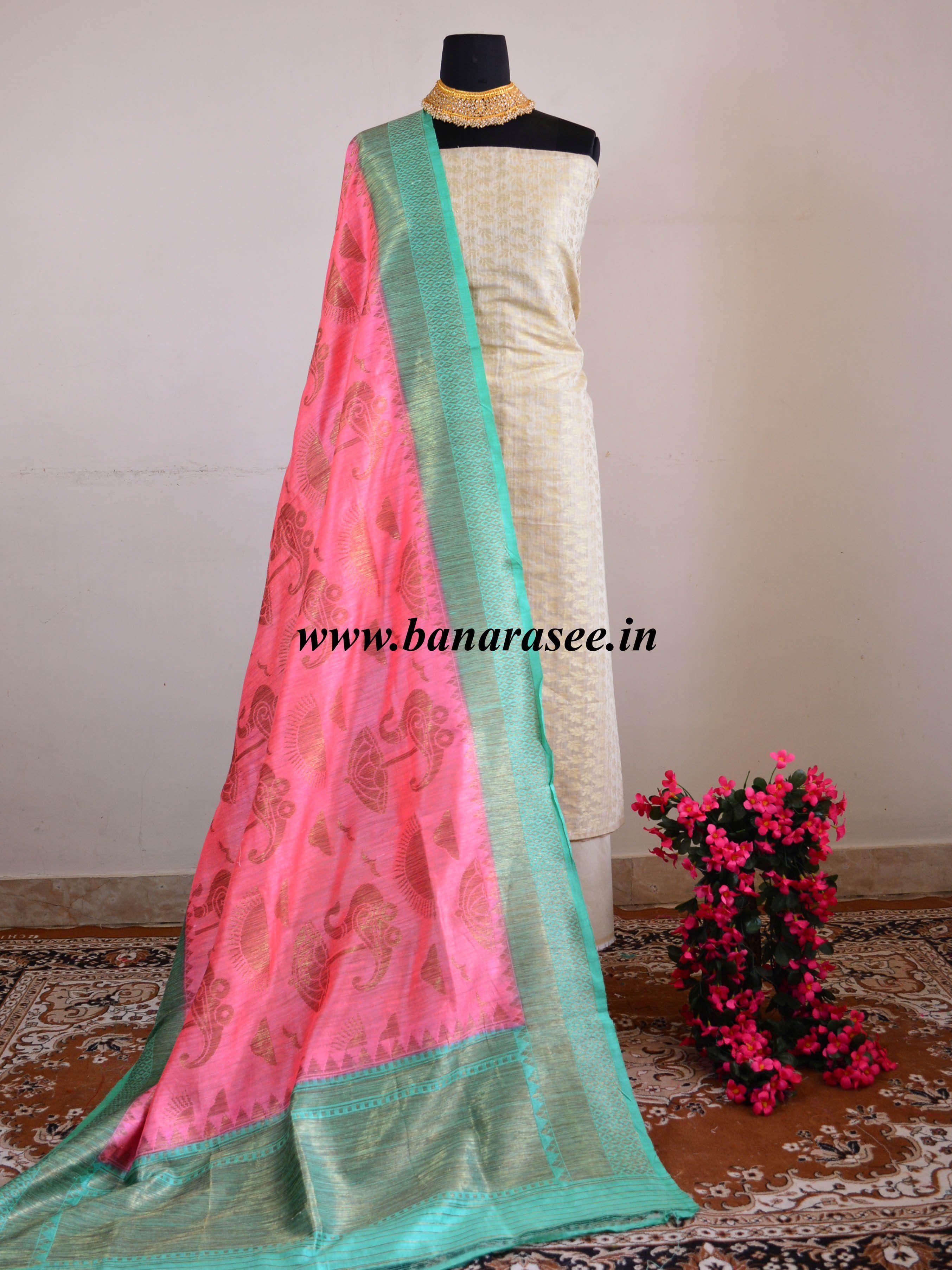 4fc128b358 Banarasee Cotton Silk Salwar Kameez Fabric With Pure Dupion Silk Peach  Dupatta-Off White