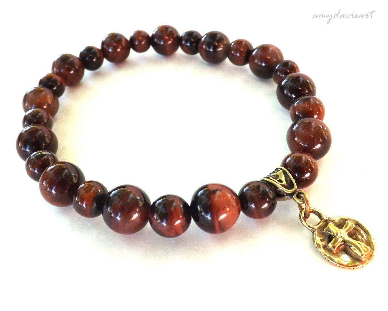 Menus christian jewelry cross bracelet red tiger eye beaded