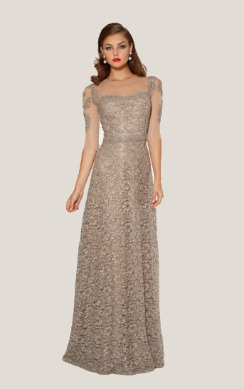 Teri Jon GOLD MESH AND LACE EVENING GOWN item 37230