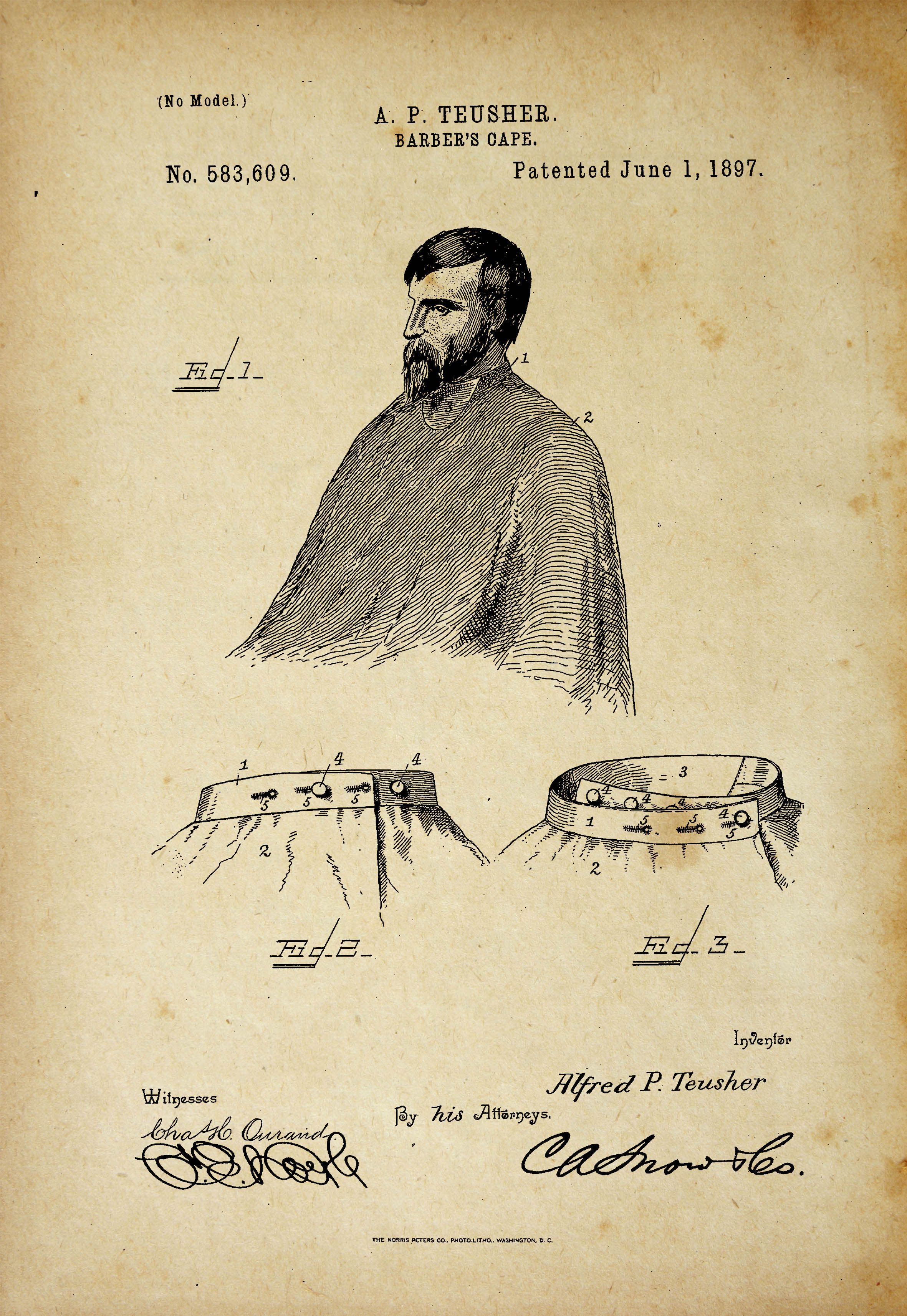 Barber\'s Cape Antique Patent Poster Old Look in 2018 | Barber Patent ...