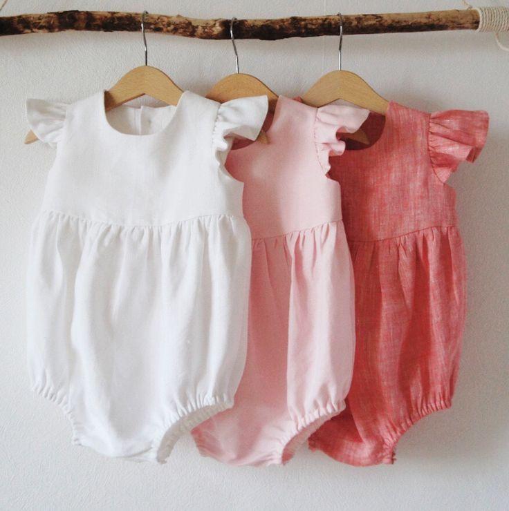 22d85b1ed45e Handmade Flutter Sleeve Linen Baby Rompers