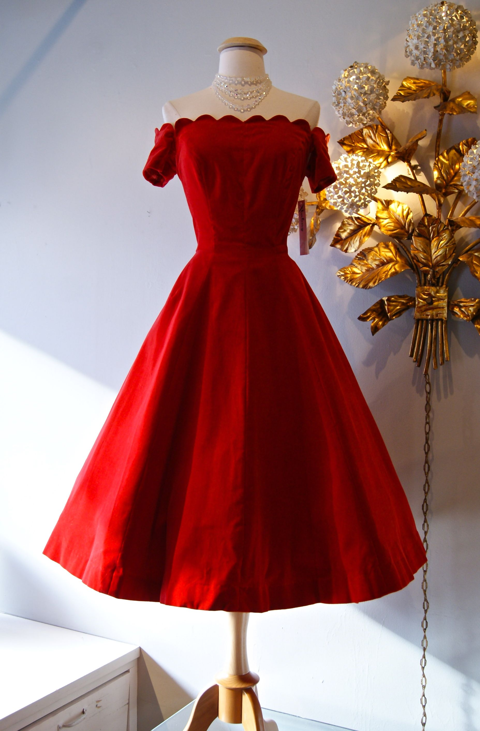 A smashing 1950s red velvet party dress with a scalloped neckline ...