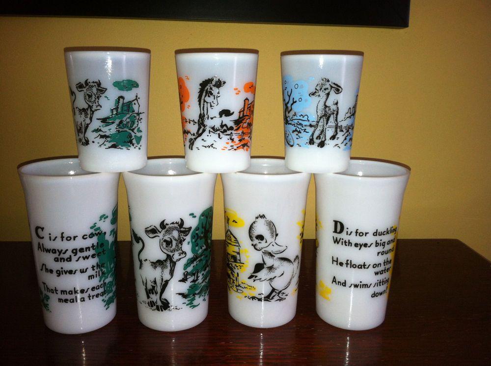 Vintage Hazel Atlas Milk Glass Children S Drinking Glasses Kids Glass Tumblers 4 Glassware Glass Tumbler Drinking Glasses