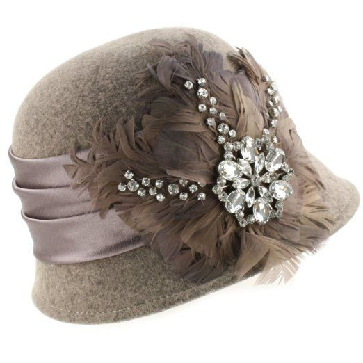 Amazon.com: Winter Wool Feathers Rhinestones Cloche Bucket Church Hat Cap Adjustable Gray: Clothing