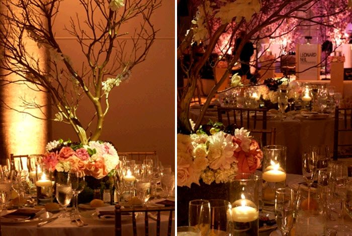 Candlelit Wedding Reception Manzanita Branches Accented With Antique Gold Blush Pink And