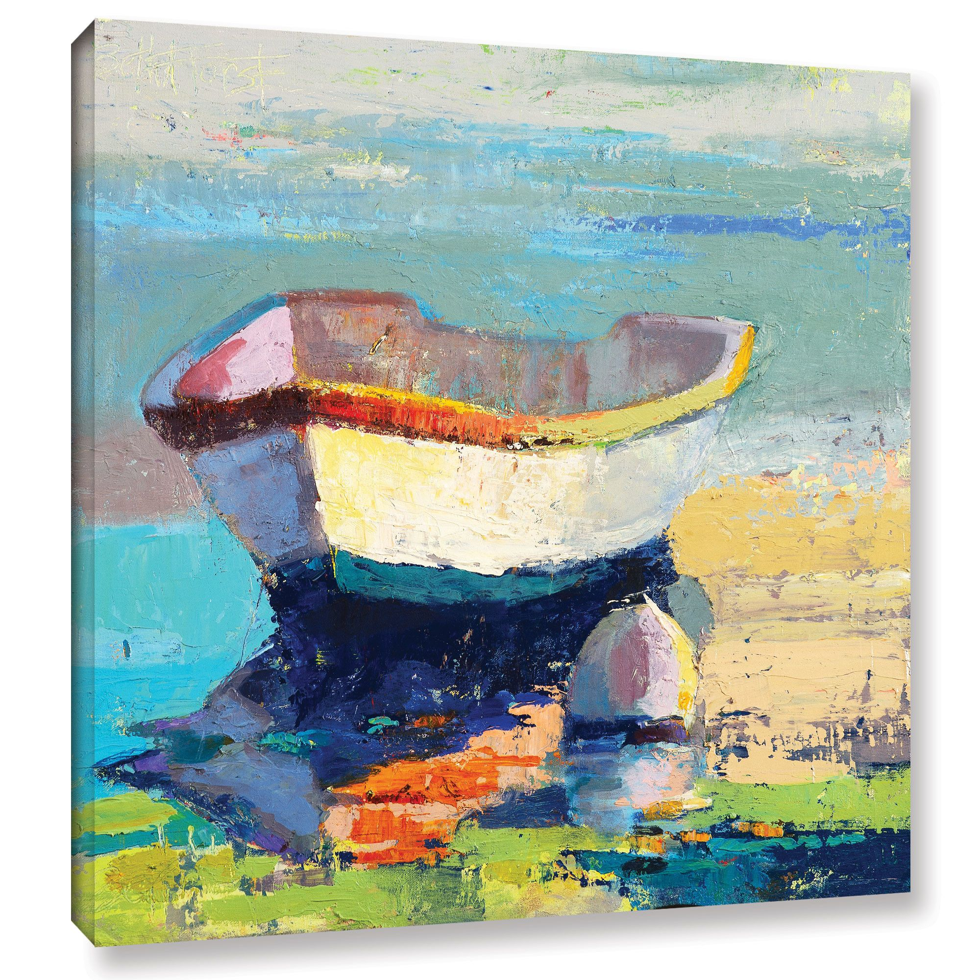 Breakwater Bay Bottle Green Boat Painting Print On Wrapped Canvas