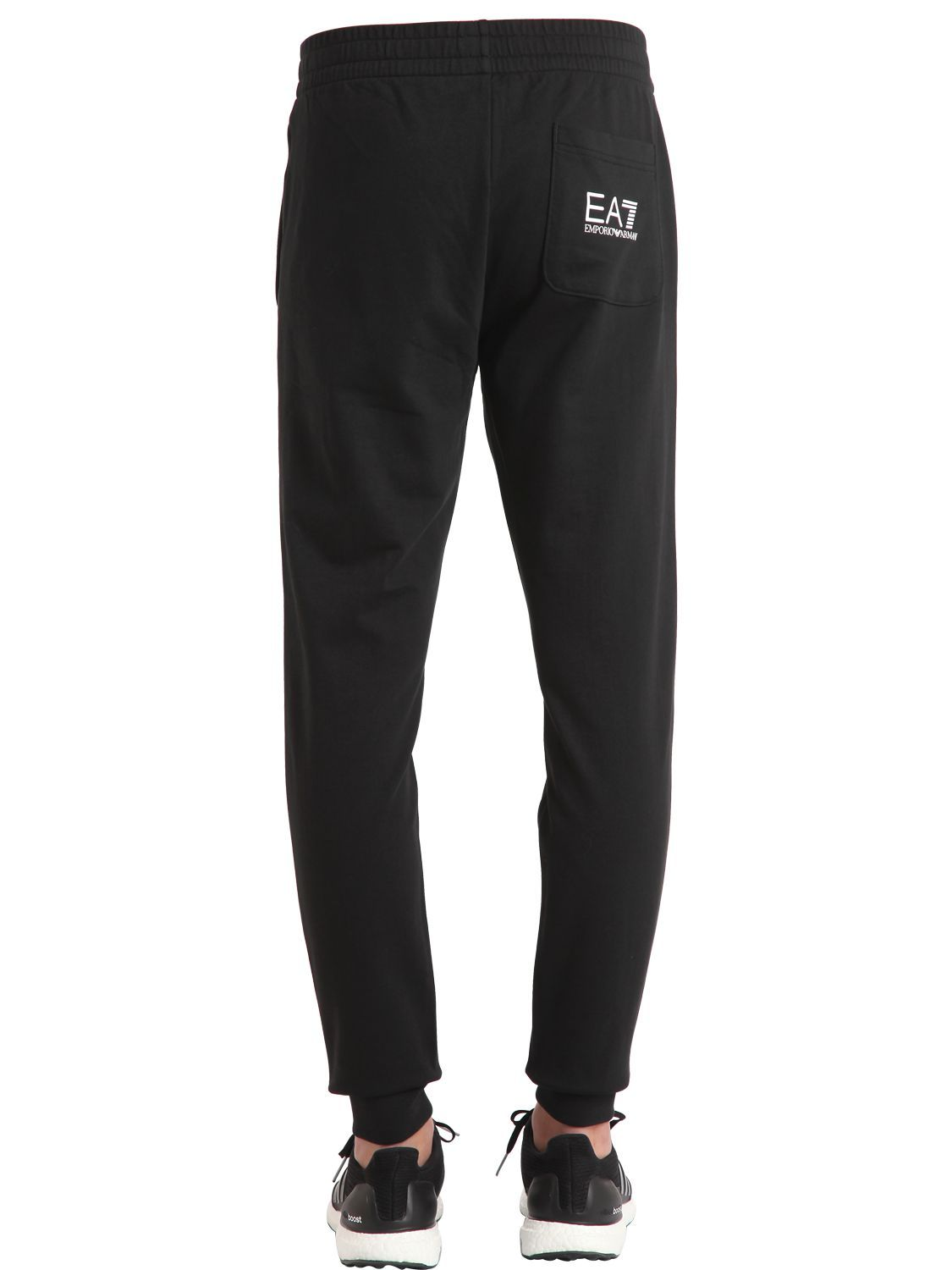 ba25c06a5e55ac EA7 EMPORIO ARMANI - TRAIN LOGO SERIES COTTON SWEATPANTS - PANTS - BLACK -  LUISAVIAROMA -