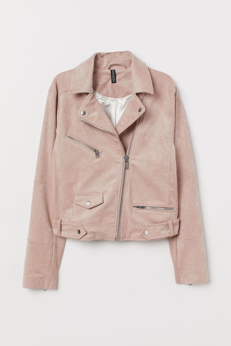 Faux Suede Biker Jacket Powder Pink Ladies H M Us Faux Suede Biker Jacket Suede Biker Jacket Suede Biker [ 1152 x 768 Pixel ]