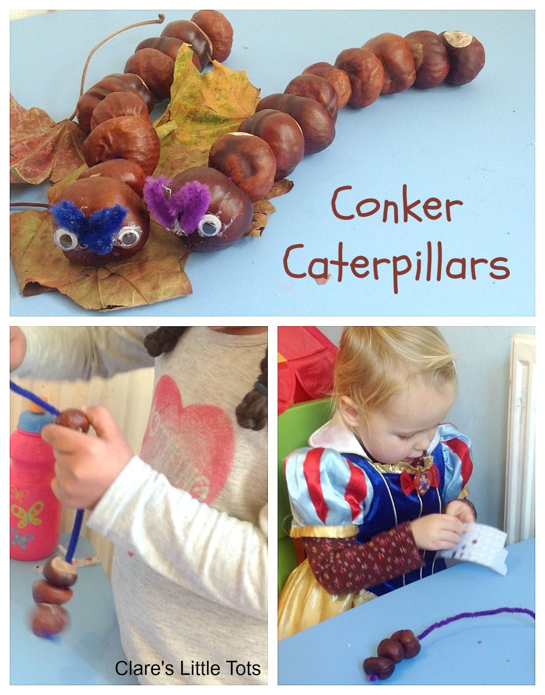 Conker Caterpillars   Clare's Little Tots #autumncrafts