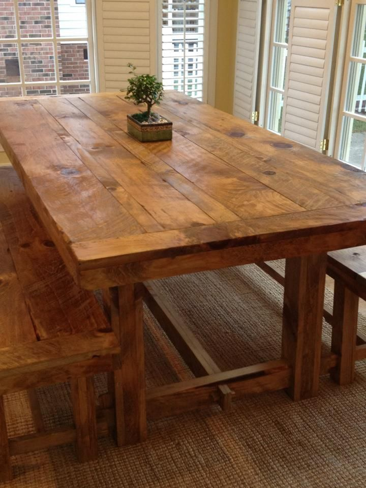 Rustic  REAL WOOD  home made  keeping business local  That s what I love    Rustic Farm TableBarn. Barn Wood Table   For the Home   Pinterest   Wood table  Barn wood
