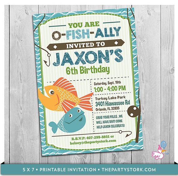 Fishing invitation fish invitation fishing party for Fishing birthday invitations