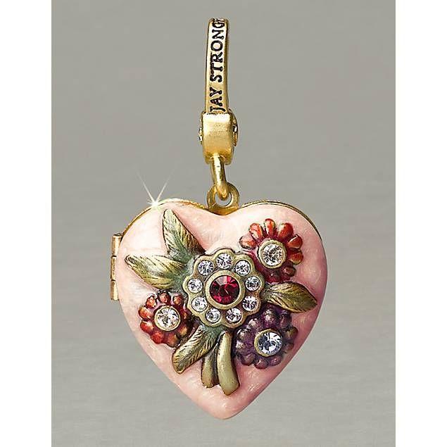Jay Strongwater - Miranda Heart Locket Charm - Flora