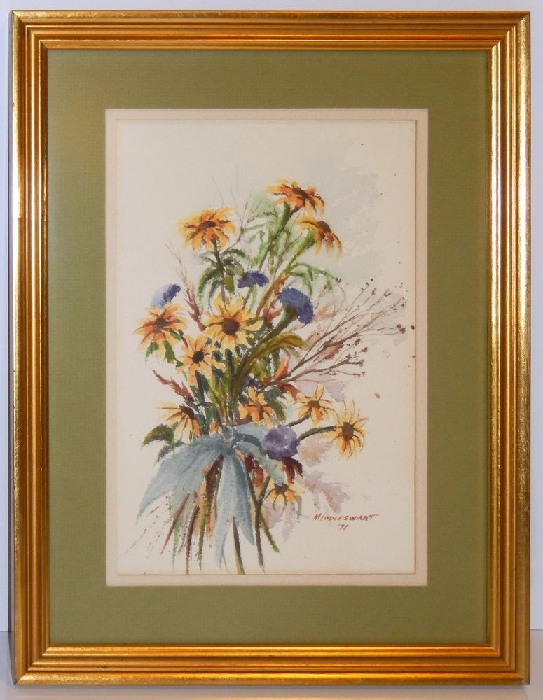 Mid Century Floral Bouquet Watercolor Painting Gold Gilt Custom