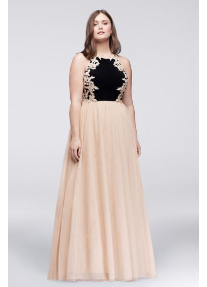 Appliqued Jersey and Mesh Ball Gown 57099W   Prom dress ideas ...