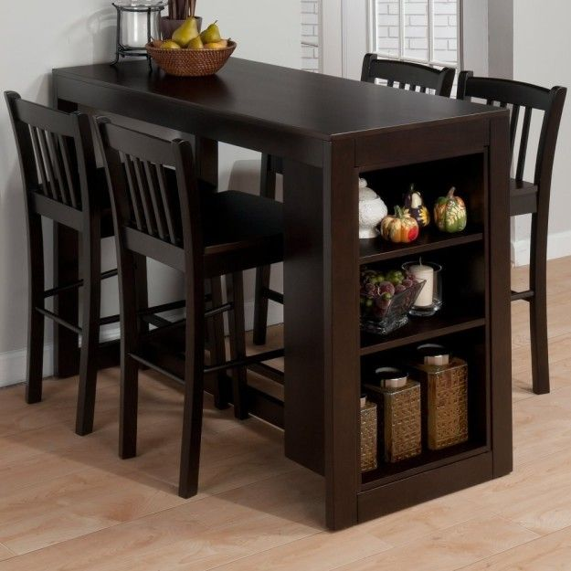 A Bar Style Dining Table With Built In Storage Dining Room