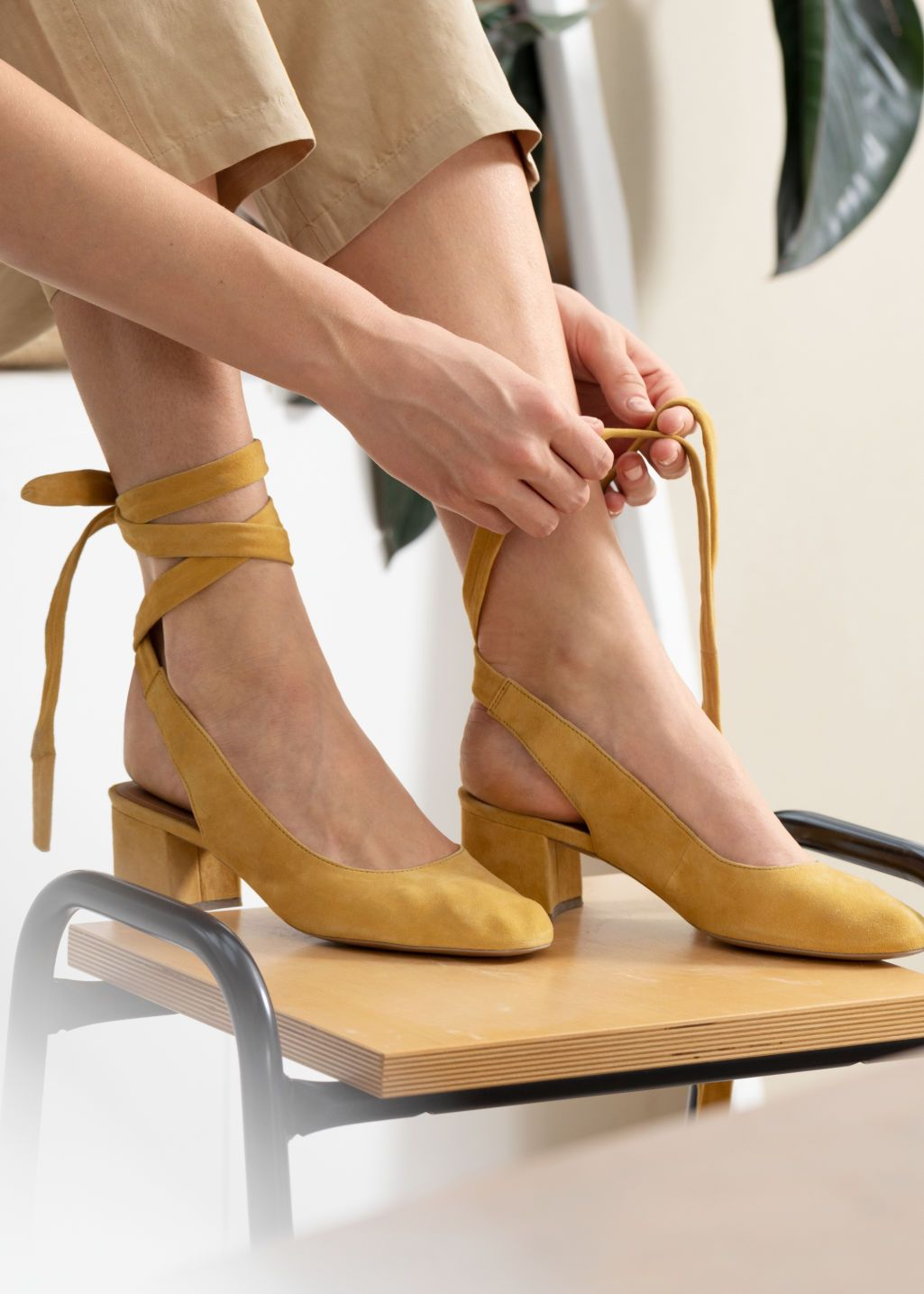 8462d5f99 Suede Lace Up Slingback Pumps - Mustard - Heeled sandals - & Other Stories
