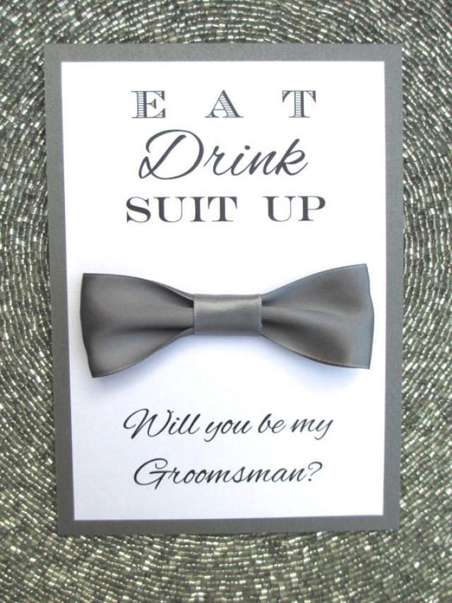 Fliege mit Karte - Geschenk für Groomsmen und Trauzeuge zur Hochzeit ...