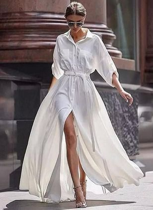 Lange Witte Maxi Jurk.Polyester Plain Lange Mouw Maxi Elegant Jurken 1036933 Floryday