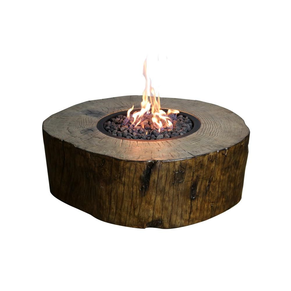 Elementi Blazing Timber 37 In Round Eco Stone Natural Gas Fire
