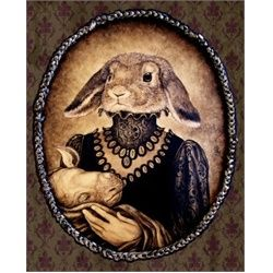 Leibchen and Unicorn by Larkin  Lowbrow Canvas Art Print. Larkin's favorite personal quote, When there is nothing new under the sun we must search the shadows sums up his artistic perspective. His Baroque-inspired dark art is Surreal and sometimes frightening.