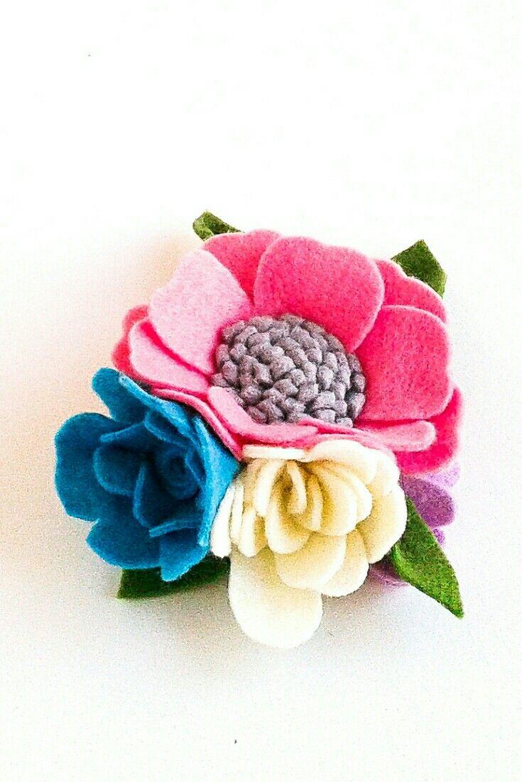 Baby girl pink ivory blue felt flower crown headband nylon Newborn toddler floral hairpiece Baby milestone Boho 1st birthday Cake smash #babyhairaccessories