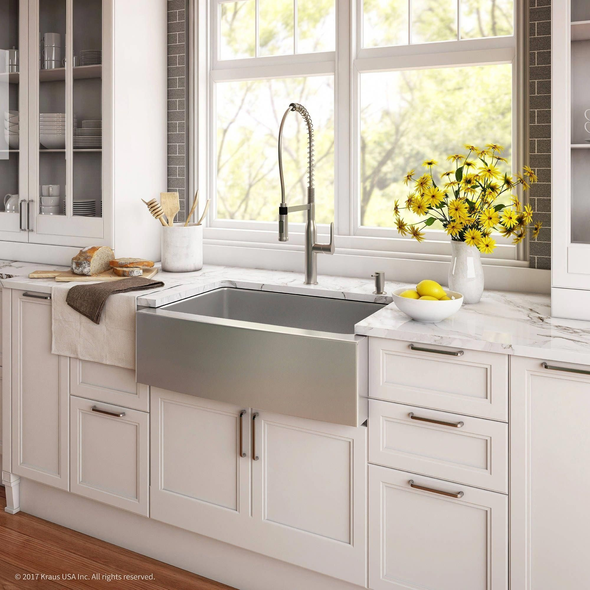 Kraus 30 Farmhouse Sink With Nola Commercial Faucet Soap Dispenser Stainless Steel Finish Silver Luxu Kitchen Remodel Kitchen Design Kitchen Sink Remodel