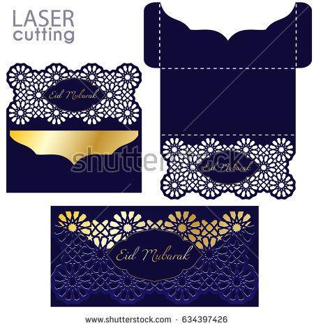 Laser cut Eid Money Holder, Eid Mubarak card, Money Envelope - money gift envelope template