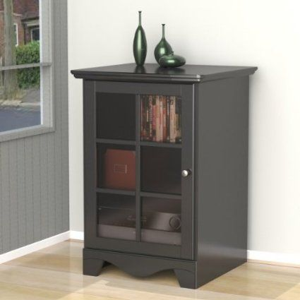 Amazon Com Nexera 101506 Pinnacle 1 Door Audio Tower Black Audio Cabinet Entertainment Furniture Tempered Glass Door