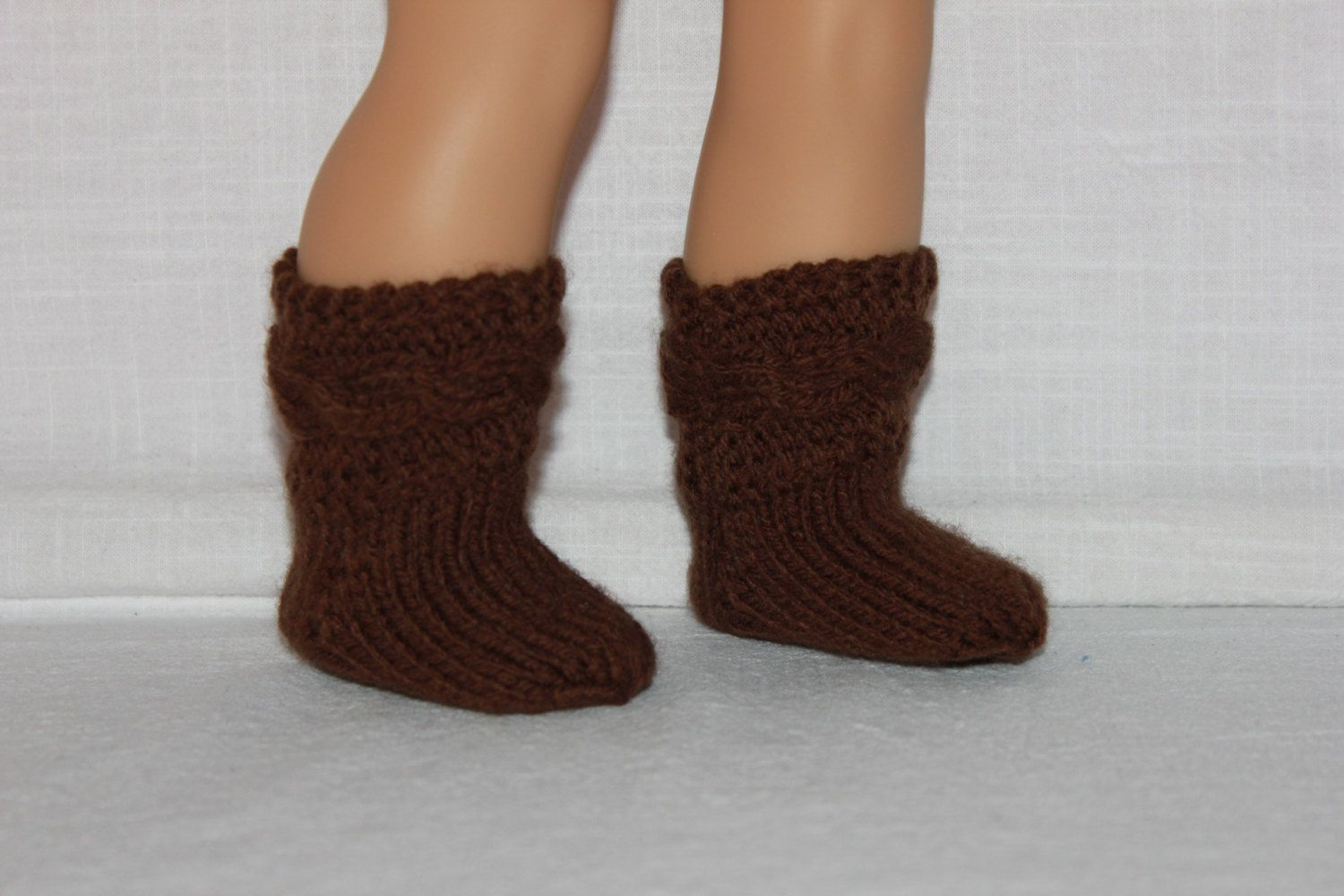 hand knit socks, brown cable socks, 18 inch doll clothes, american girl, maplelea by UpbeatPetites on Etsy