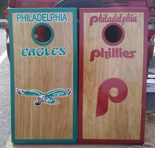 Custom Corn hole boards Philadelphia eagles | Philly Set (Eagles and ...