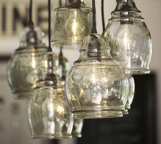 Pottery Barn Carriage Lamp: Paxton Glass 8-Light Pendant