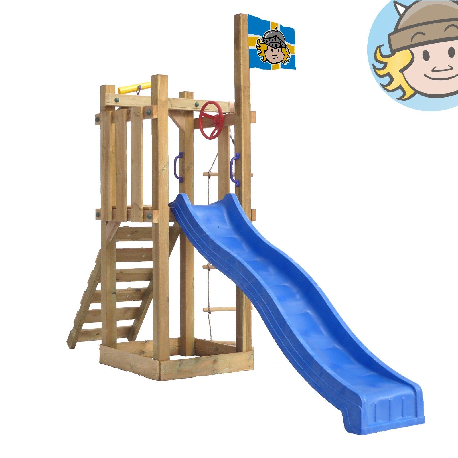 WICKEY Castle Minodor Climbing Frame Slide sandbox wooden Set ...