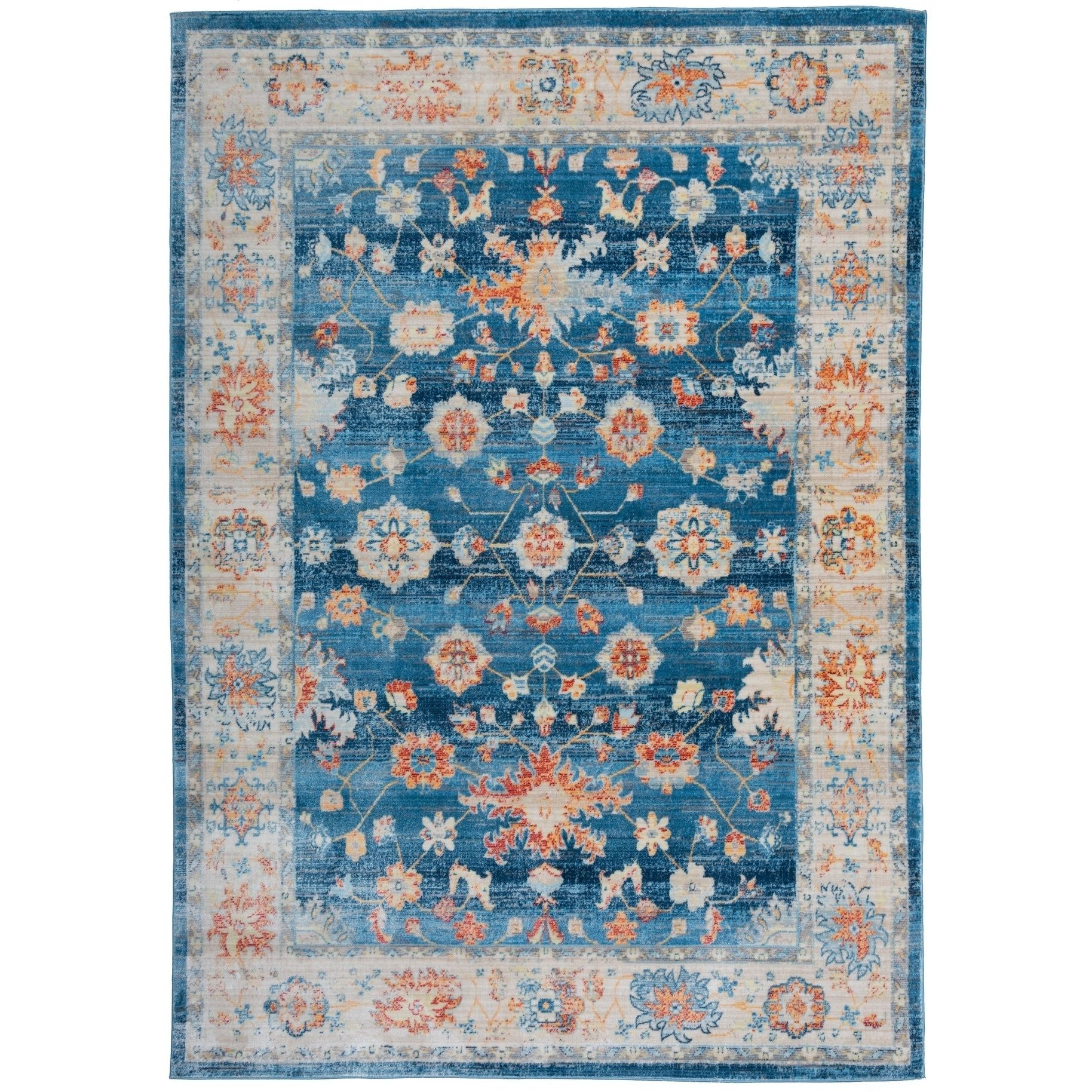 Osti Traditional Oriental Distressed Blue Fabric Cotton Indoor Rectangular Area Rug 5 3 X 7 4 Size