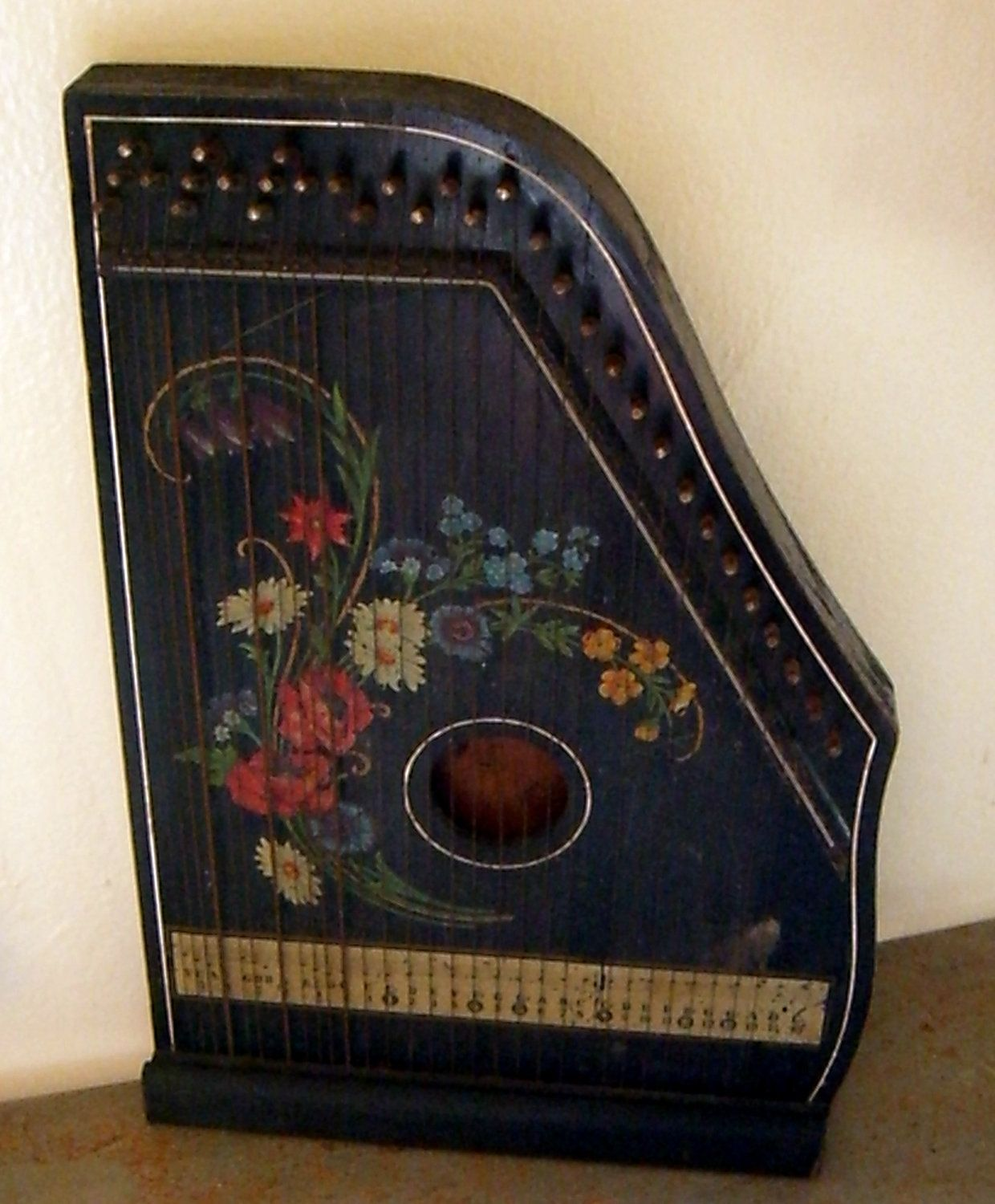 antique zither harp fretless musima zither germany