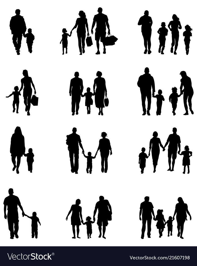Familie 2 Silhouetten Silhouette Architecture Silhouette People Silhouette Vector