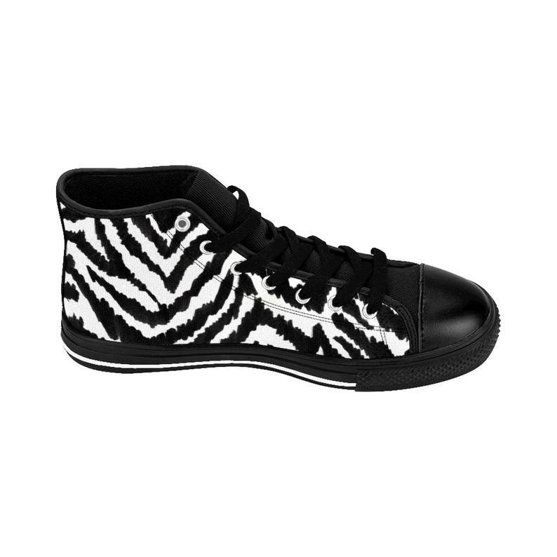 a5623198dbb5c Asahi Zebra Animal Print Men's High-Top Designer Sneakers   Etsy ...