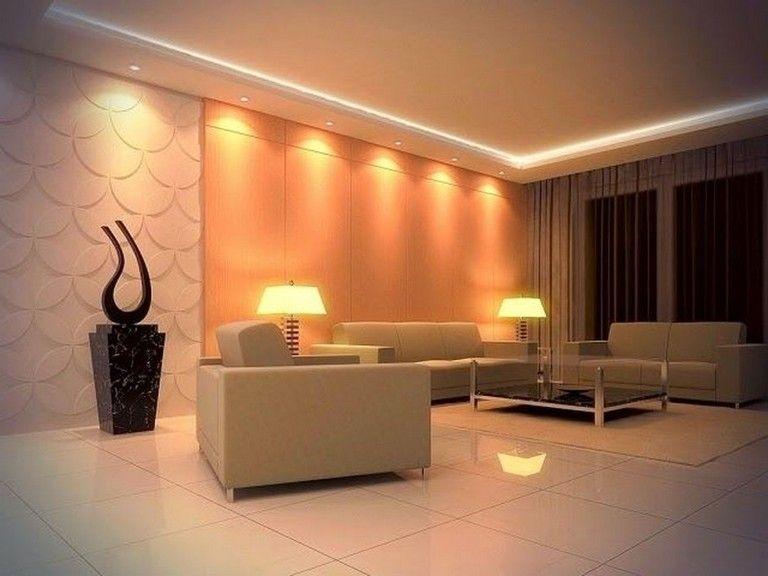 63 Awesome Modern Led Strip Ceiling Light Design Living Room Design Decor Modern Living Room Interior Living Room Lighting Ideas Low Ceiling