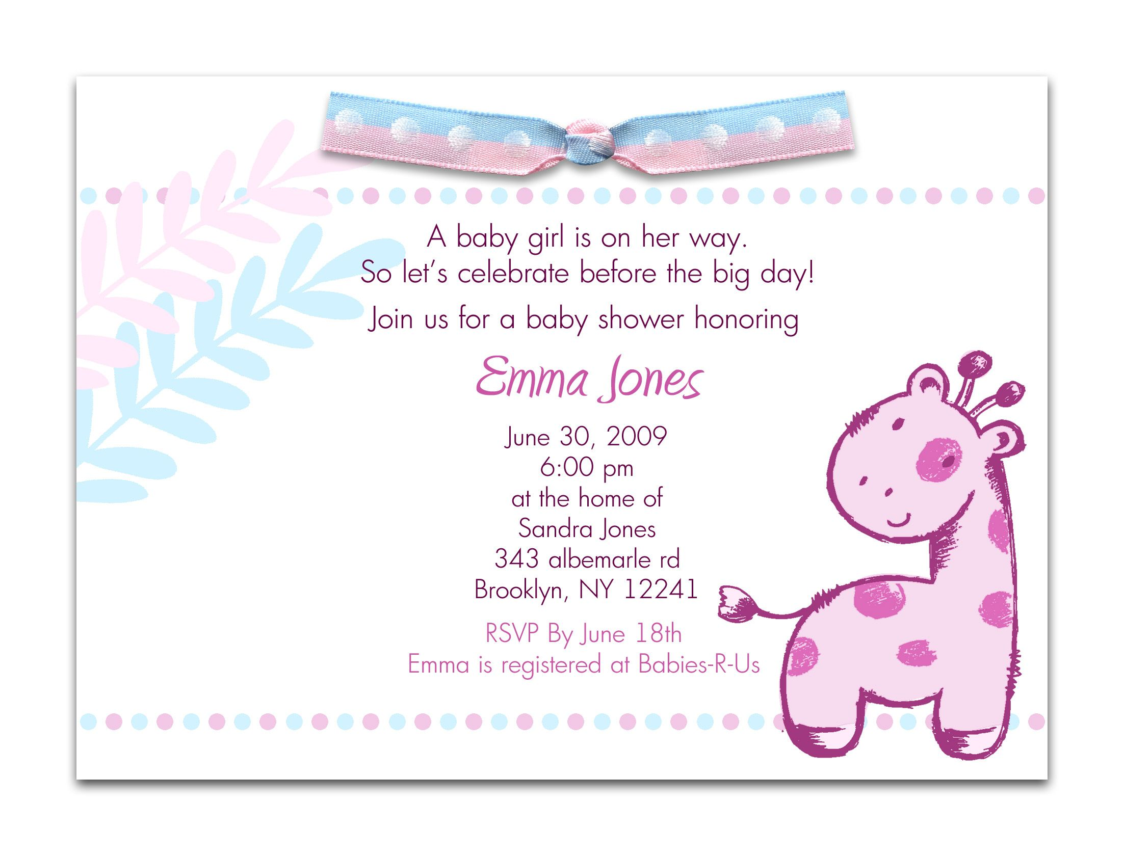 Baby Gift Wording Ideas : Baby shower invitations card simple design