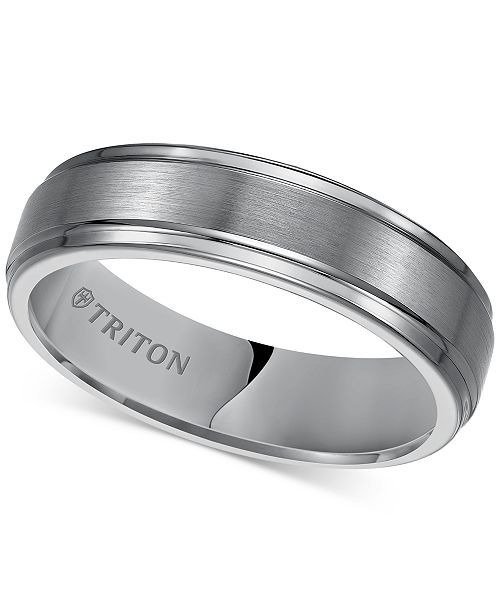 Triton Men S Black Tungsten Carbide Ring Comfort Fit Wedding Band 6mm Reviews Rings Jewelry Watches Macy S Mens Wedding Bands Tungsten Mens Wedding Rings Tungsten Wedding Bands