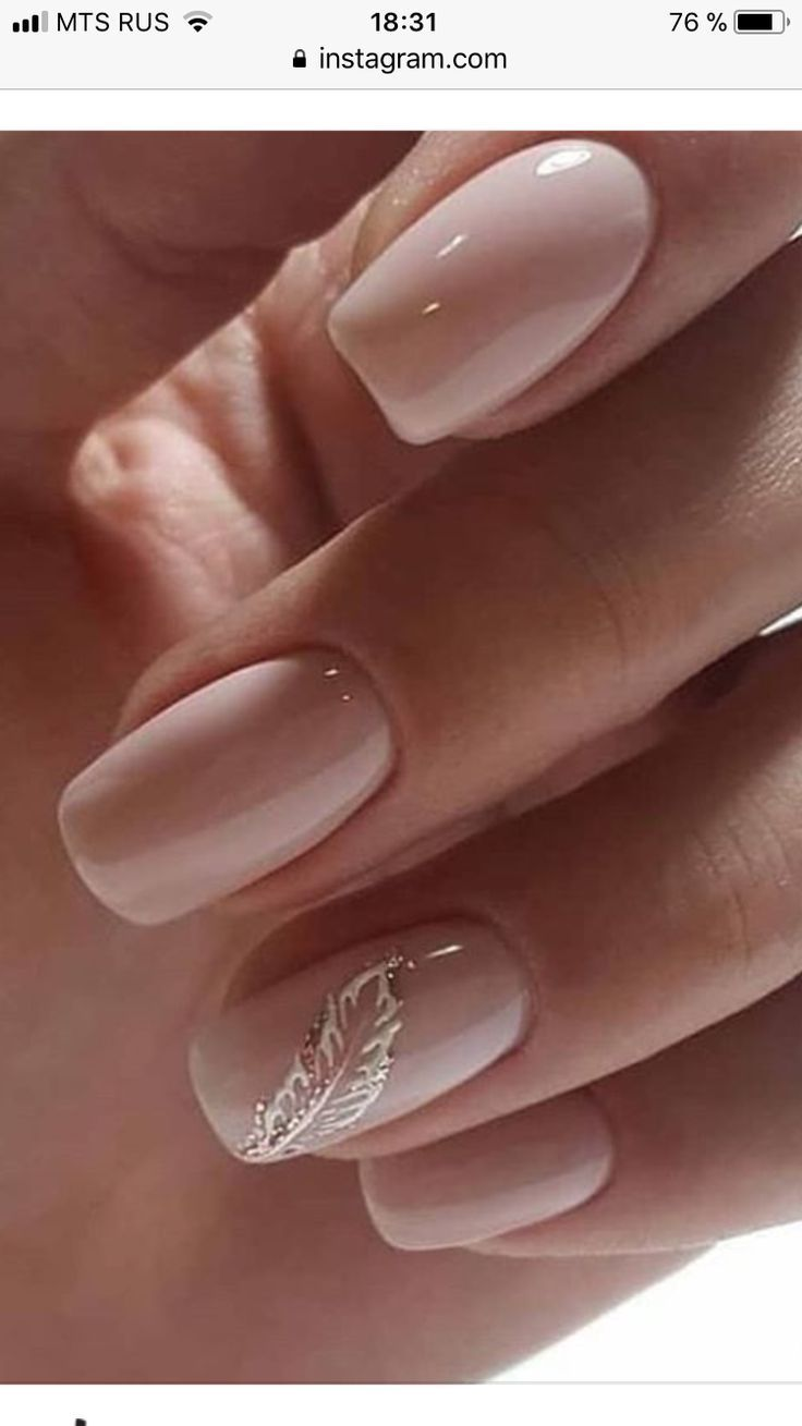 Photo of Naked pink nails with a silver feather accent – Today Pin